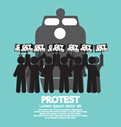 Train workers strike and protest symbol vector