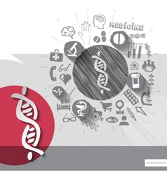 Hand drawn dna icons with icons background vector