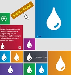 Water drop icon sign metro style buttons modern vector
