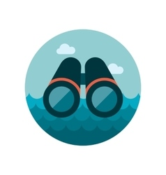 Flat icon of binoculars vector