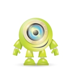 Green cartoon robot isolated on white vector