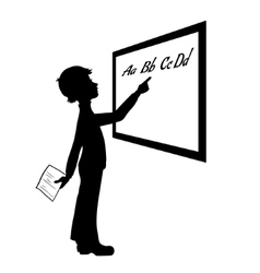 Silhouette of schoolboy at blackboard vector