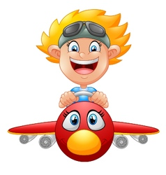 Cartoon boy flying plane vector