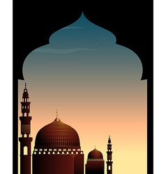 Scene with mosque at twilight vector