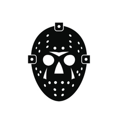 Halloween hockey mask black simple icon vector image