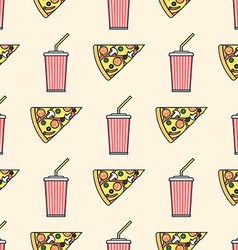 Pizza slice soda cold drink paper cup colored vector