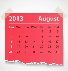 2013 calendar august colorful torn paper vector image