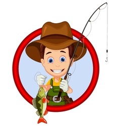 cartoon Fisherman and fish vector image