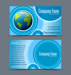 Globe theme business card vector