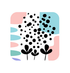 abstract textures with creative plants in a square vector image vector image