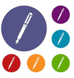 Black fountain pen icons set vector