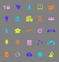 Business connection color icons on gray background vector