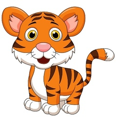 Cute baby tiger cartoon vector image vector image