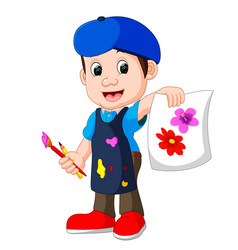 cute boy painting with paintbrush vector image vector image
