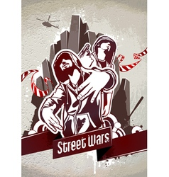 grungy poster with two gangsters vector image vector image