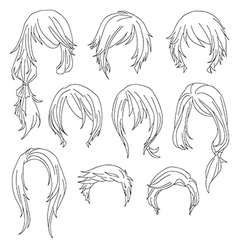 Hair styling for woman drawing Set 1 vector image