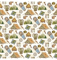 Hand drawn pattern with camping travel vector image