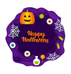 Happy halloween papercut concept vector
