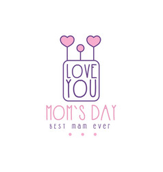 happy moms day logo template lobe you best mom vector image vector image