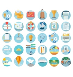 Icons set of traveling and planning a summer vector