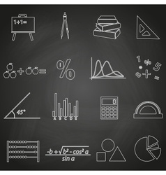 Mathematics outline icons set on blackboard eps10 vector