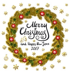 Merry Christmas And Happy New Year 2017 Vintage vector image