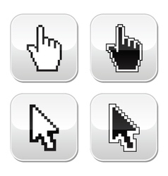 Pixel cursors icons - hand and arrow buttons vector image