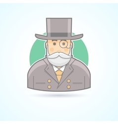 Richman wealthy old man banker icon vector image vector image