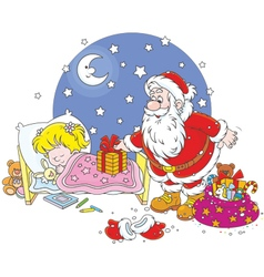 Santa with gifts for a child vector image