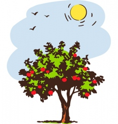 summer tree with red apple vector image vector image