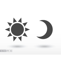 Sun and moon flat icon logo for web design mobile vector