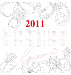template for calendar for 2011 vector image vector image
