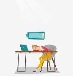 tired employee sleeping at workplace vector image vector image