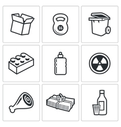 Waste and recycling Icons vector image vector image