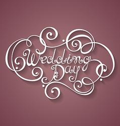 Wedding day inscription st valentines day symbol vector