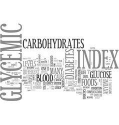 What is glycemic glycemic index text word cloud vector