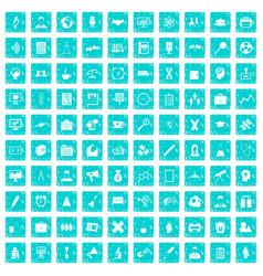 100 seminar icons set grunge blue vector