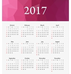 Calendar 2017 week starts from sunday vector