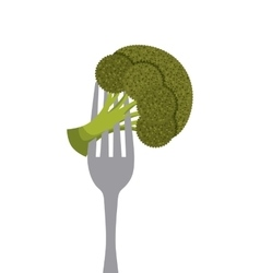 Vegetable in a fork vector
