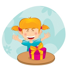 Little girl with a gift vector