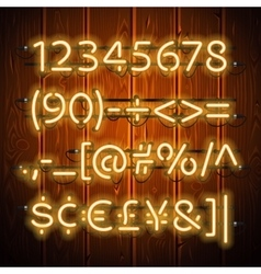 Glowing neon numbers on wooden background vector