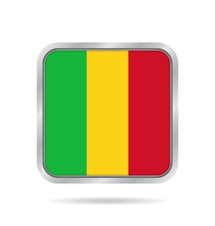 Flag of mali shiny metallic gray square button vector