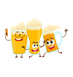 three funny smiling beer glass and mug characters vector image