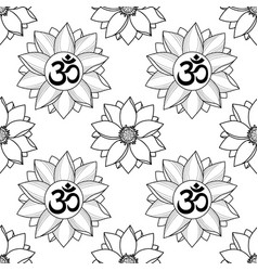 Om and lotus seamless pattern vector