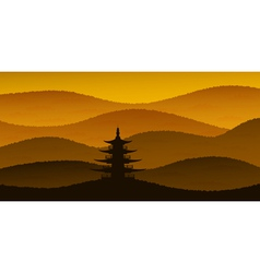 Sunset pagoda vector
