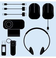 Computer peripherals and cords vector