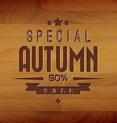 Autumn sale wooden background vector