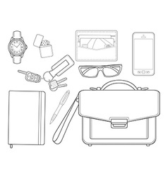 Every day carry man items businessman line-art vector