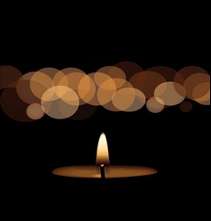 Yellow candle on black background vector