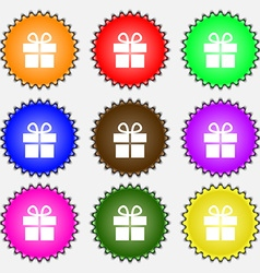Gift box icon sign a set of nine different colored vector
